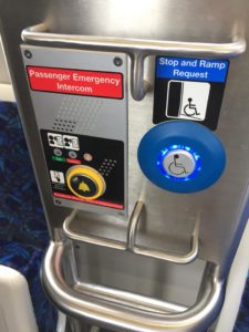 Passenger emergency button and stop and ramp request button console