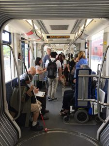 group opportunity to explore the streetcar from front to back, and explore any features they needed to