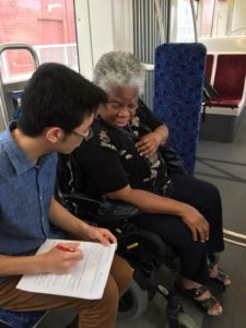 participant completes survey with TTC employee