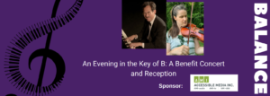 Banner shows a treble clef made of piano keyboard, as well as photos of the 2 performers, and AMI sponsorship logo, the title of the event, and the name of BALANCE.