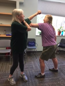 Corinne and Cat spar during our Self Defense Class 2019