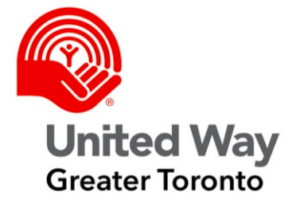 United Way Greater Toronto in black letters, on a white background with image of a red hand cradling a small person and a red rainbow above them
