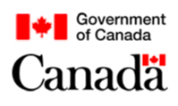 Government of Canada Logo. Text: Government of Canada. Image of Canadian Flag above (two red panels with a red maple leaf ); all on a white background