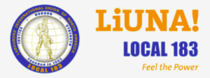 """LiUNA LOCAL 183 logo; yellow and blue with a caption below that says """"Feel the Power"""""""
